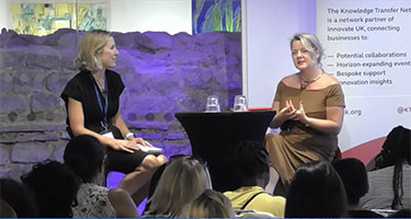 Two panelists discussing at the Women In Innovation webcast