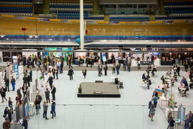 Shot from above of a corporate exhibition at Velodrome