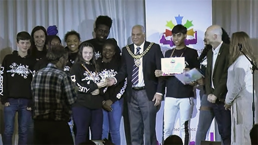 Diversity collecting award from Mayor